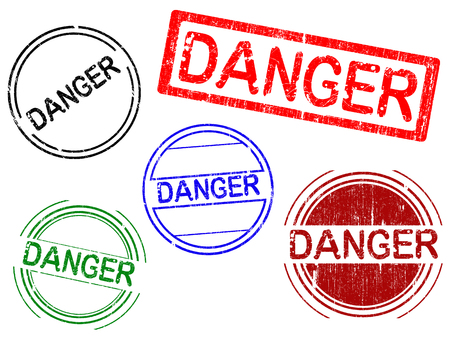 5 Grunge Office Stamps with the word DANGER in a grunge splattered text. (Letters have been uniquely designed and created by hand)