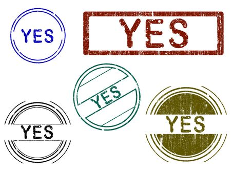 5 Grunge effect Office Stamp with the word YES in a grunge splattered text. (Letters have been uniquely designed and created by hand)