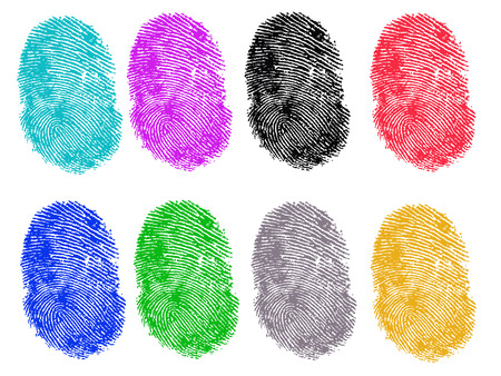 8 Colored Vector Fingerprints - Very accurately scanned and traced ( Vector is transparent so it can be overlaid on other images, vectors etc.) Banco de Imagens - 39423709
