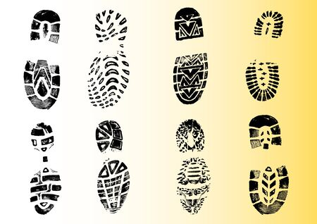 8 Shoeprints - Highly detailed transparent vectors so they can be overliad onto other graphic elements Imagens - 39423710