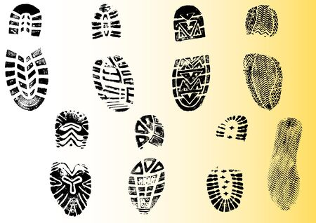 8 Shoeprints - Highly detailed transparent vectors so they can be overliad onto other graphic elements Vetores