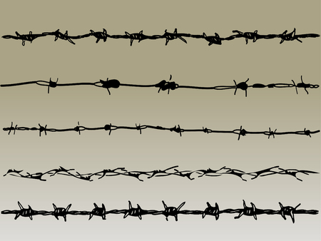 Barbed Wire elements 1 - 5 vector barbed wire graphic elements Ilustração