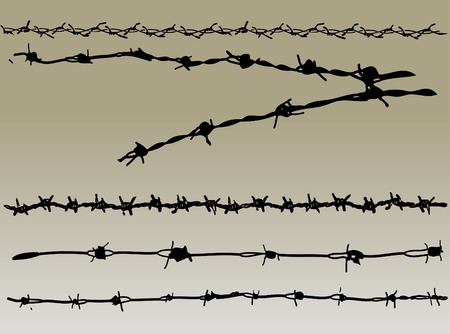 Barbed Wire elements 2 - 5 vector barbed wire graphic elements