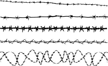 Elementy z drutu kolczastego 3 - 5 Elementy graficzne wektorowe drut kolczasty
