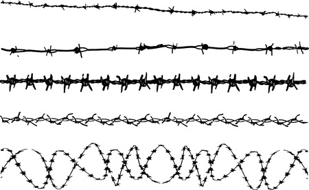 Barbed Wire elements 3 - 5 vector barbed wire graphic elements