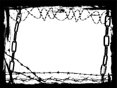 Vector Border Graphic with grunge elements and black chains and Barbed Wire Çizim