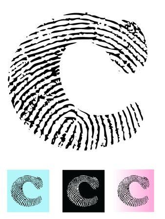 Fingerprint Alphabet Letter C (Highly detailed Letter - transparent so can be overlaid onto other graphics) Banco de Imagens - 39423756