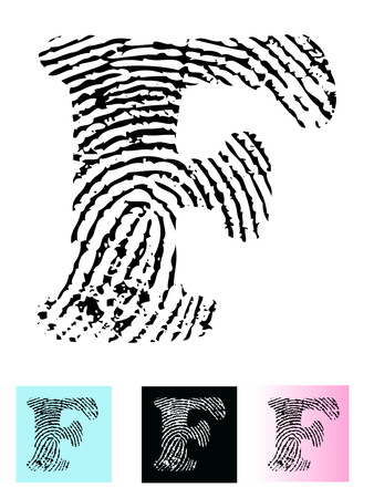 Fingerprint Alphabet Letter F (Highly detailed Letter - transparent so can be overlaid onto other graphics)