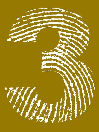 Grunge Fingerprint Alphabet - Number 3 (Highly detailed grunge letter) Banco de Imagens - 39423763