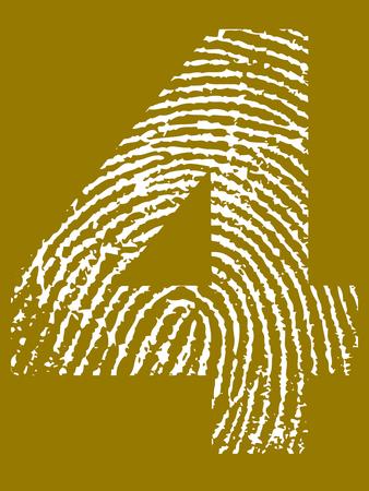 Fingerprint Number - 4 (Highly detailed grunge Number) Banco de Imagens - 39423764