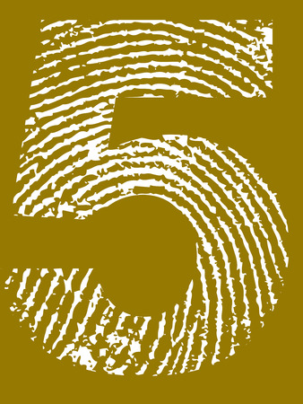 Fingerprint Number - 5 (Highly detailed grunge Number) Banco de Imagens - 39423765