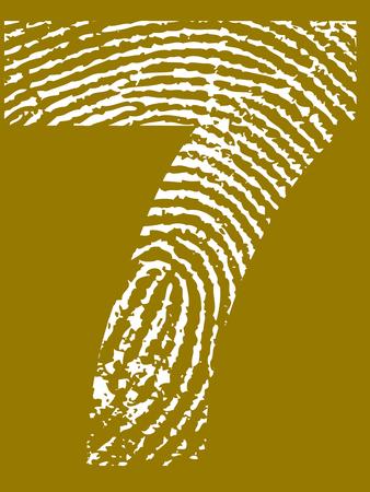 Fingerprint Number - 7 (Highly detailed grunge Number) Banco de Imagens - 39423767