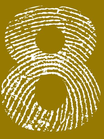 Fingerprint Number - 8 (Highly detailed grunge Number) Banco de Imagens - 39423768