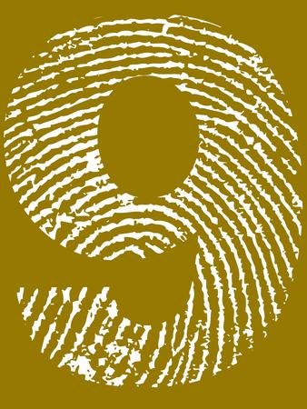 Fingerprint Number - 9 (Highly detailed grunge Number) Banco de Imagens - 39423769