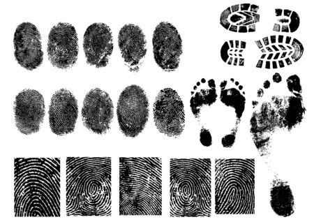 Black and White Vector Fingerprints and footprints - Very accurately scanned and traced.