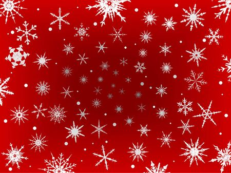 Background of  Frosted Snowflakes on a Red Fading background Ilustração
