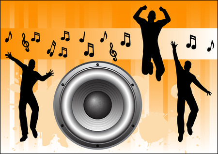 Orange Music Background with people jumping and dancing Banco de Imagens - 39423791