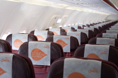 BANGKOK THAILAND,12 AUG 2019.THAI SMILE AIRWAYS IS ASIAN AIRLINE FLY FROM BANGKOK TO DESTINATION.