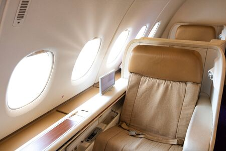 Luxury First class very nice and comfort seat in flight service.VIP business cabin chair.