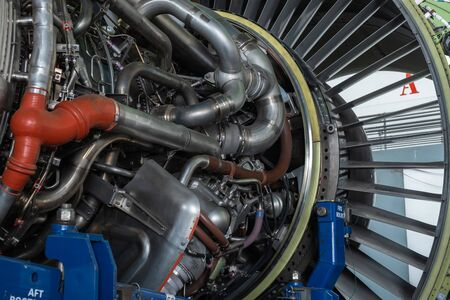 Bangkok Thailand,25 Apr 2020.Gas turbine or a jet engine is a power plant of aircraft to fly in the air.Disassembly engine during repair and maintenance.