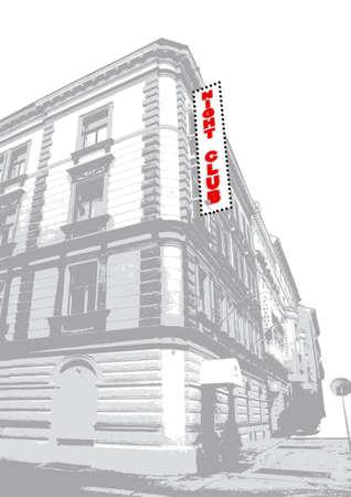 Illustration of an old night club building. Vector art illustration