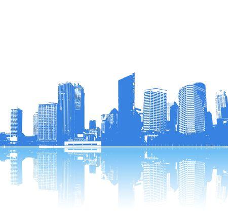 Panorama der Stadt mit Reflektion. Vektorgrafiken.