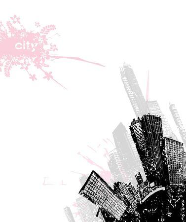 Grunge city in the corner. Vector art photo