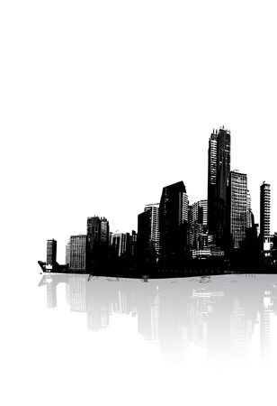 Panorama of city with reflection. Vector art. Stock Photo - 1894546