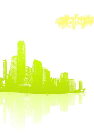 Light green city with yellow sun with text. Vector photo
