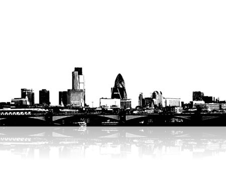 City on the riverside. Vector art Stock Photo