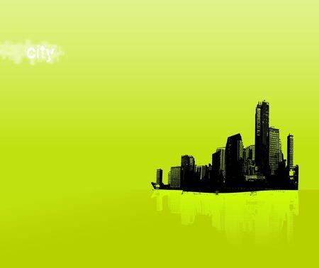 Black city on green background. Vector art photo