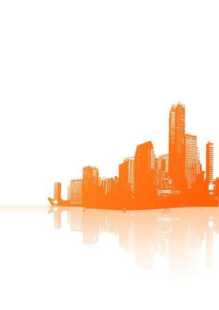 Panorama of orange city with reflection. Vector art. Stock Photo - 1894538