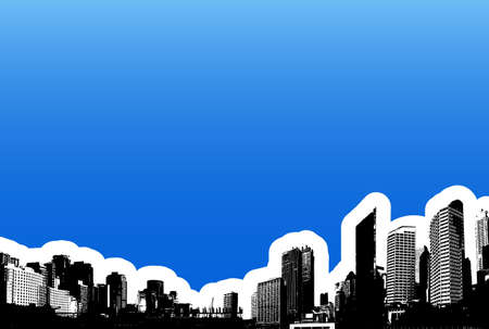 Black city on blue background. Vector art photo