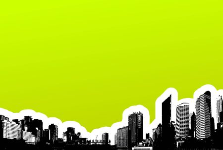 Black city on green background. Vector art Stock Photo