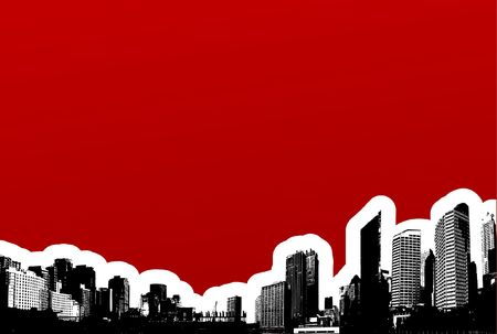 Black city on red background. Vector art Stock Photo