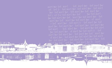 Panorama purple city with text. Vector art. photo