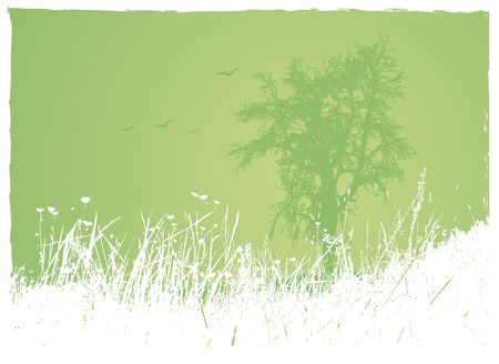 Grass with tree on green background. Vector art. photo