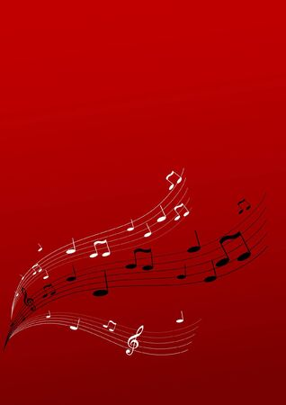 red sound:  Flying music on red background. Vector art.