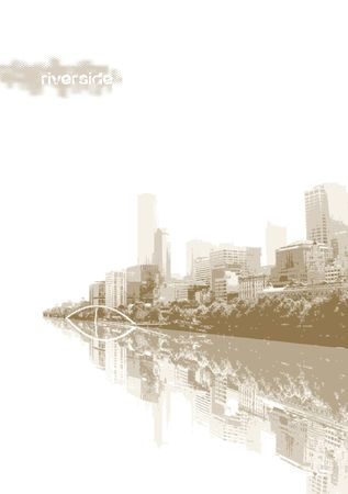 Panorama of city with reflection. Vector art. photo