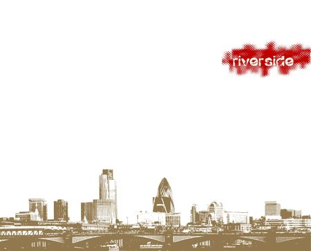 river thames: Panorama of city on riverside. Vector art.