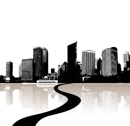 City reflected in the water. Vector Stock Photo - 3436416