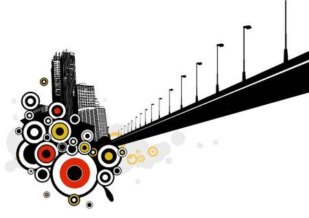 City with bridge. Vector art photo