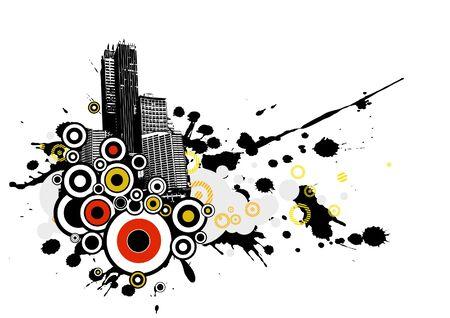 City with splash. Vector art photo