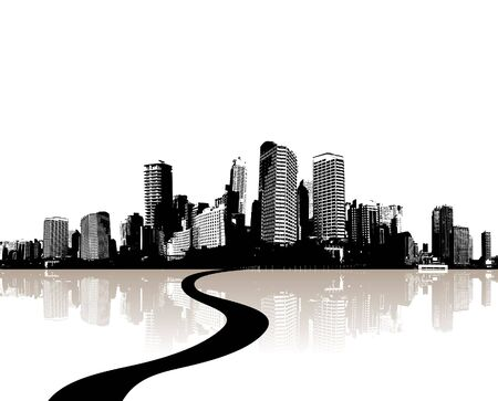 City reflected in the water. Vector photo