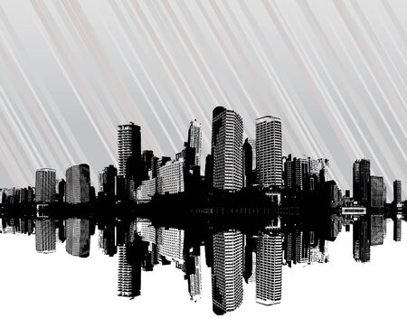 City with stripes. Vector art photo