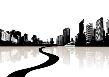 City reflected in the water. Vector Stock Photo - 3436412