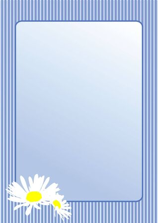 Postcard with camomile flowers. Vector photo