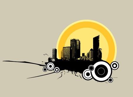 urban area: Illustration image of urban area on grey background. Vector