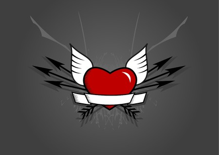 Heart with arrows on grey background. Vector photo