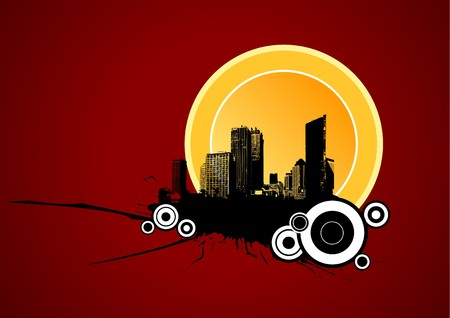 urban area: Illustration image of urban area on red background. Vector